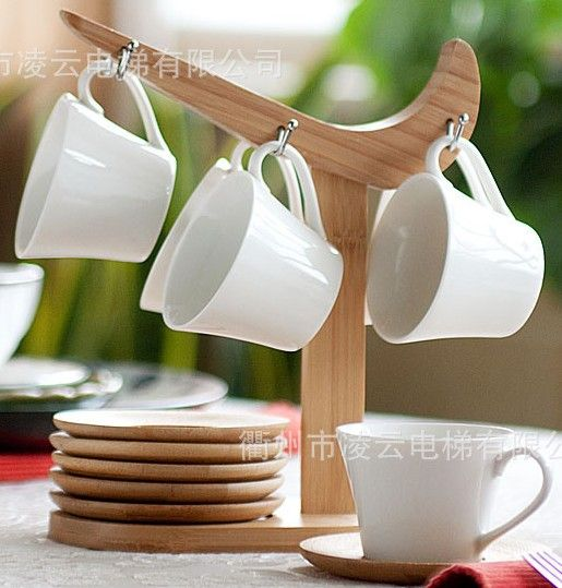 Mug Stands With Mugs Set Wooden Stand Cup Drinkware Type