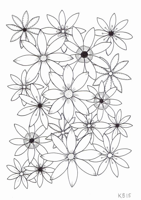 Adult colouring page - Flowers 4 | Mandalas y Flores