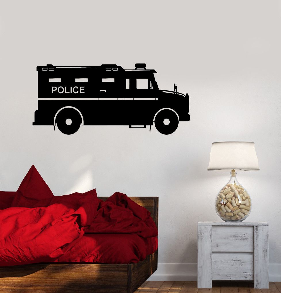 Vinyl Wall Decal Police Car Childrens Room Sheriff Garage Decor - Custom vinyl wall decals for garage