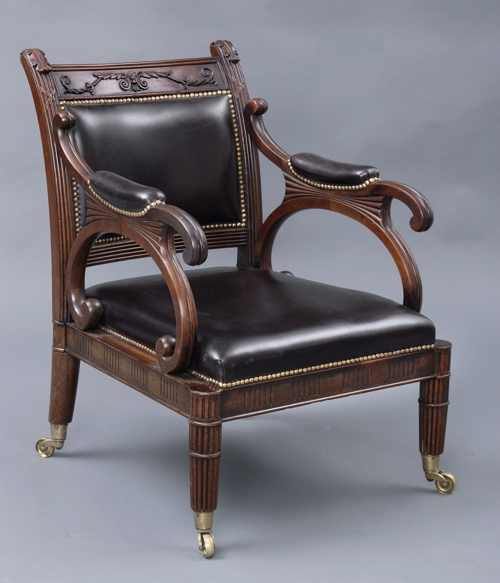 Delicieux English Antique Period Regency Mahogany U0026 Leather Library Armchair, Circa  1820 This Extremely Stylish Armchairu0027s
