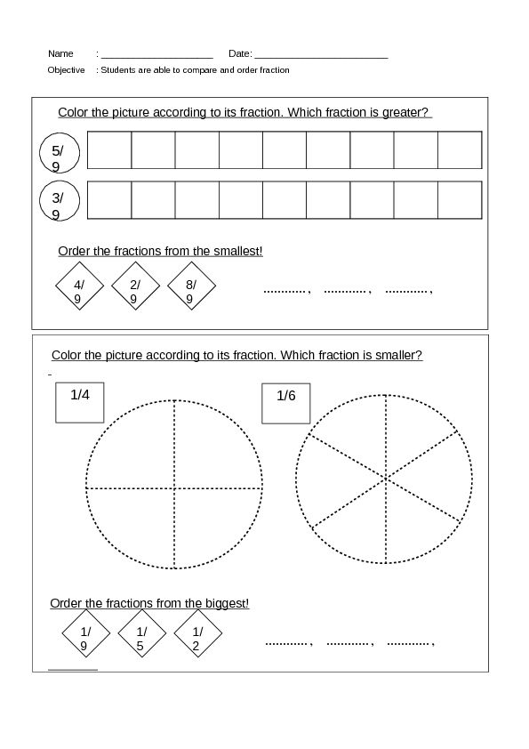 Compare And Order Fractions Worksheet Lesson Planet Math