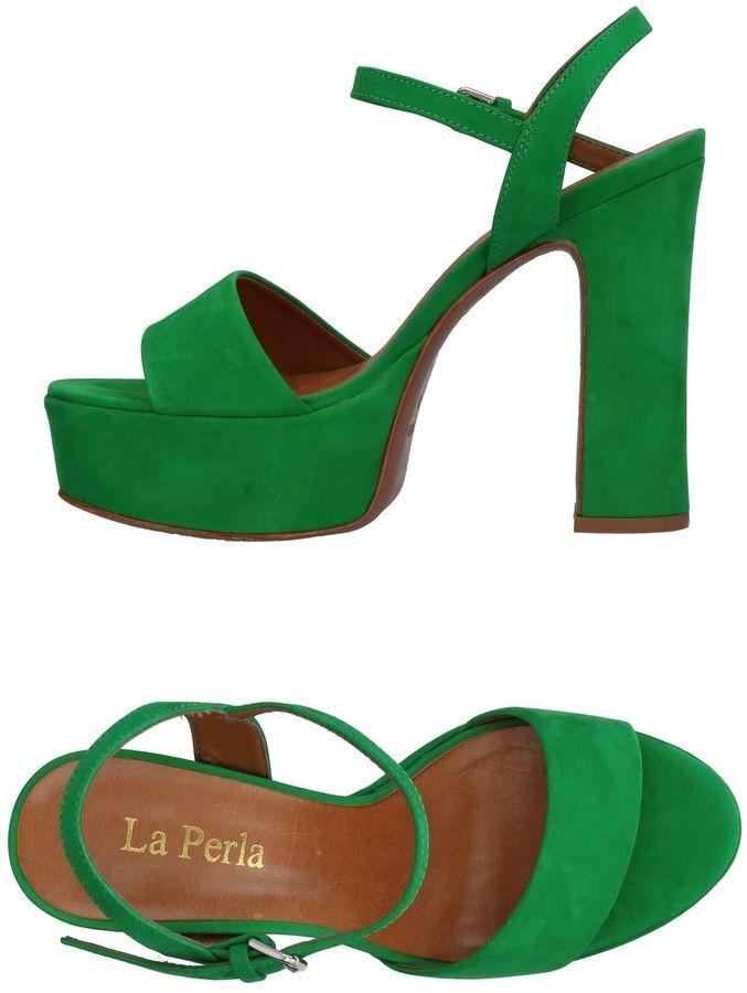 LA PERLA green platform Sandals