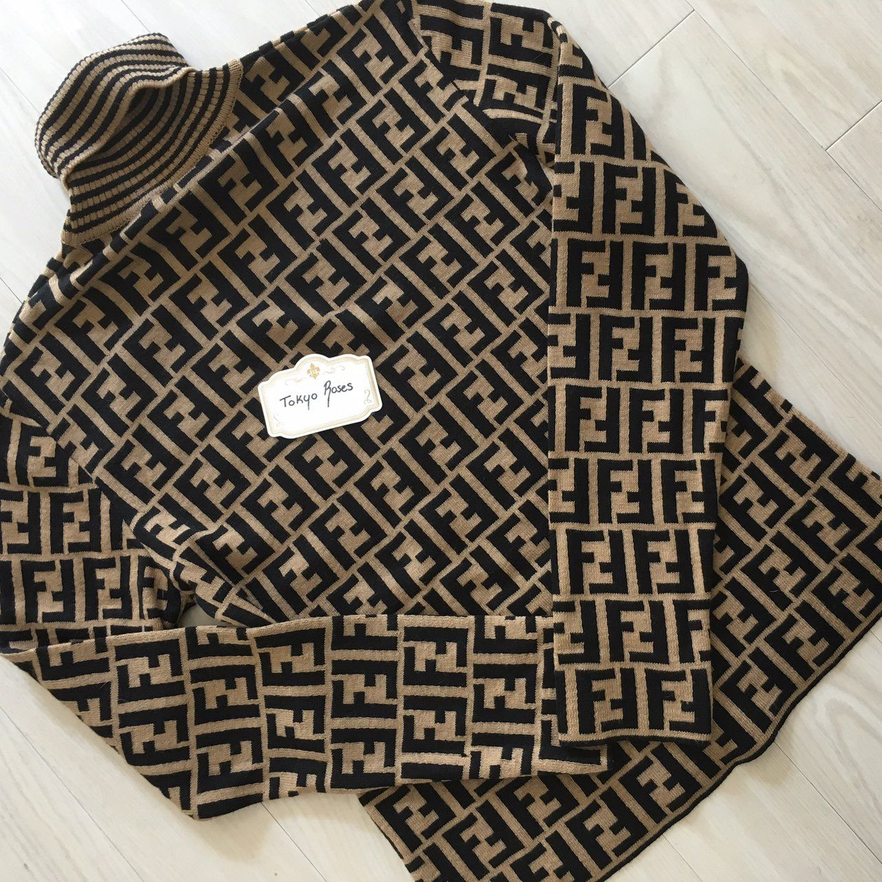 f0dd43faaf0fd4 FENDI Brown Zucca FF Logo Pattern Long Sleeve Knit Sweater | Rome ...