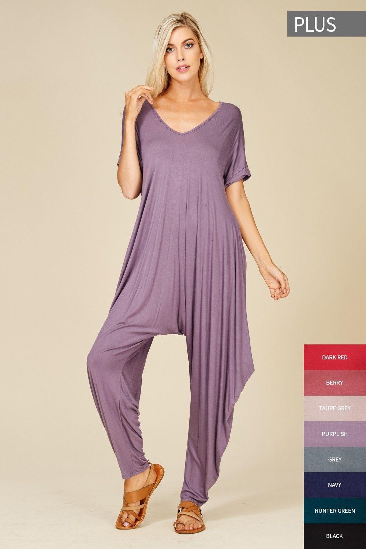 e51057196441 Plus Size Roll Up Sleeve Jumpsuit Style  J8051X  16.00 Plus size knit  jumpsuit featuring solid