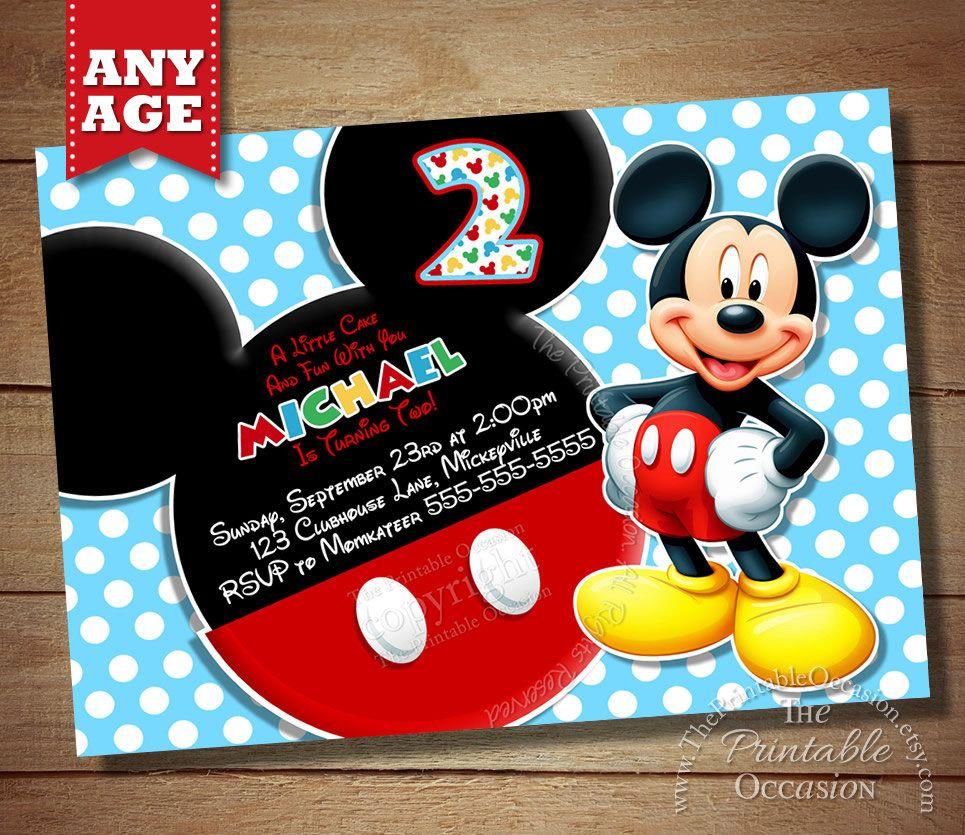 1) Printable Mickey Mouse Polka Dot Kids Birthday Invitation. 2 ...