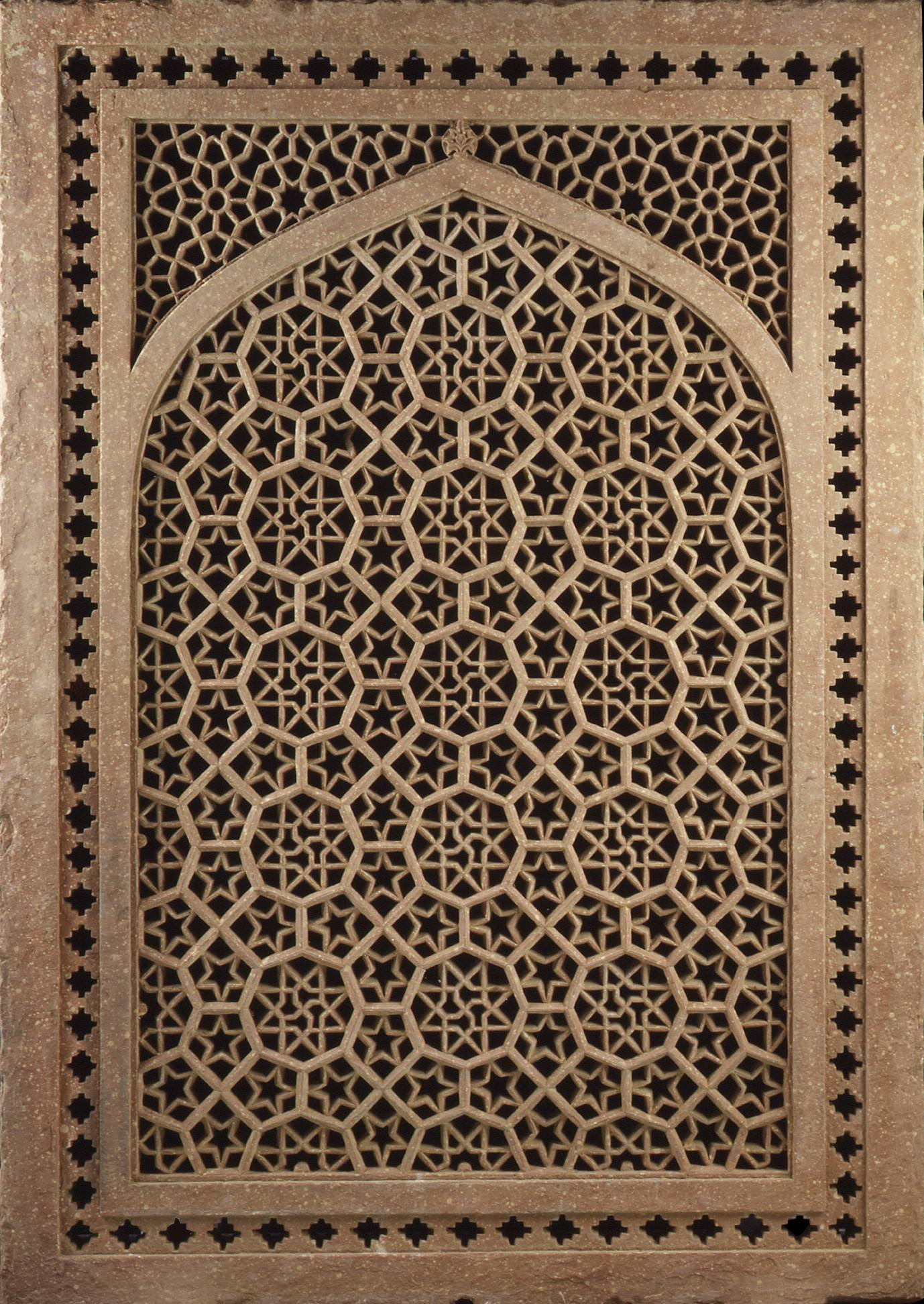 Jali Screen Second Half Of The Th Century India Red - Carved wood lace like lighting design inspired islamic decoration patterns