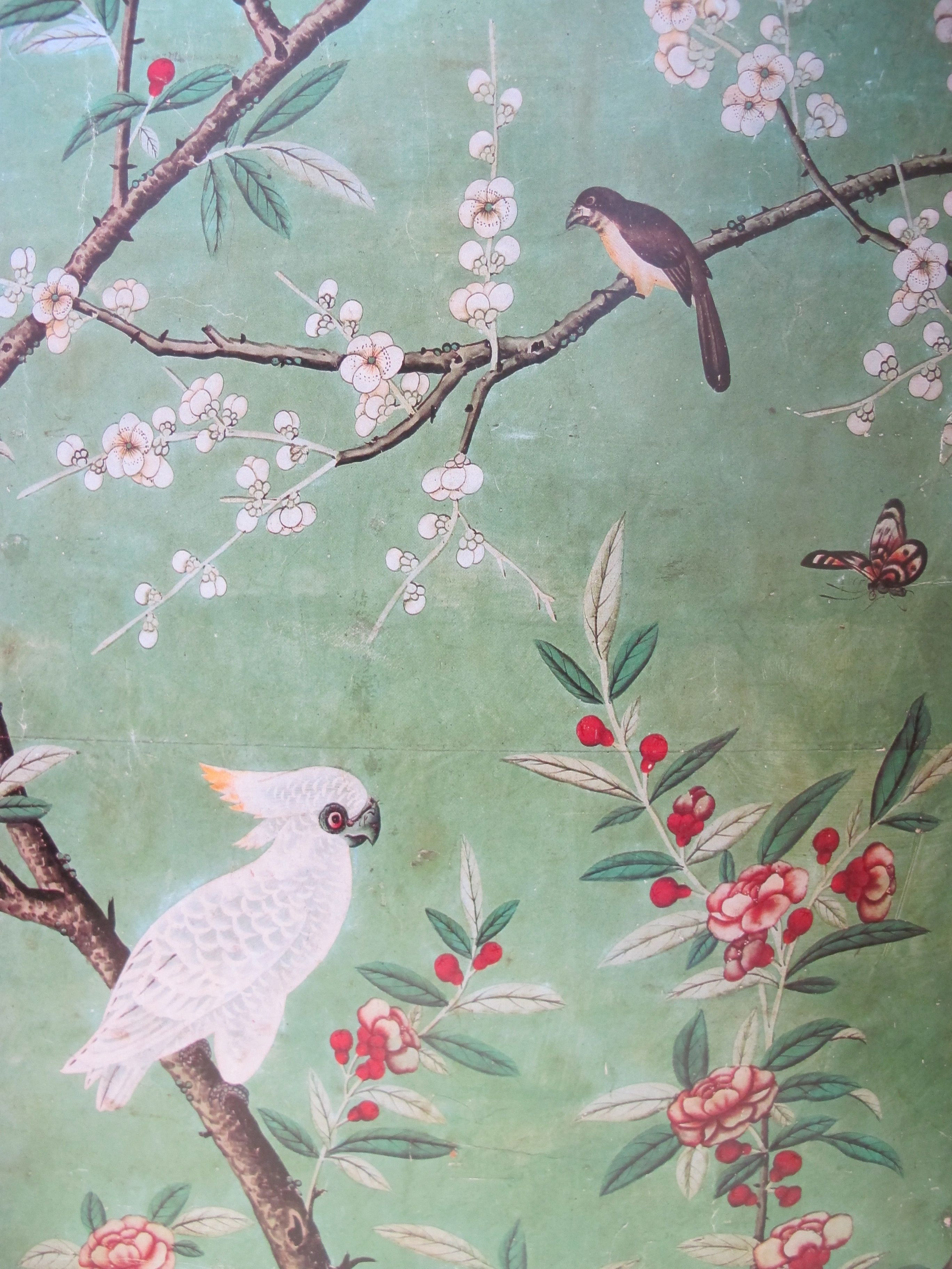 chinoiserie wallpaper with birds wallpaper including