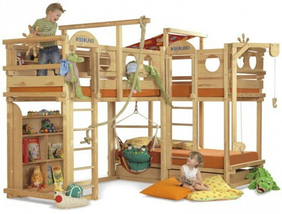 A Bed And A Playground In One Great For Indoor Fun On A Rainy Day Cool Bunk Beds Kid Beds Kids Bunk Beds