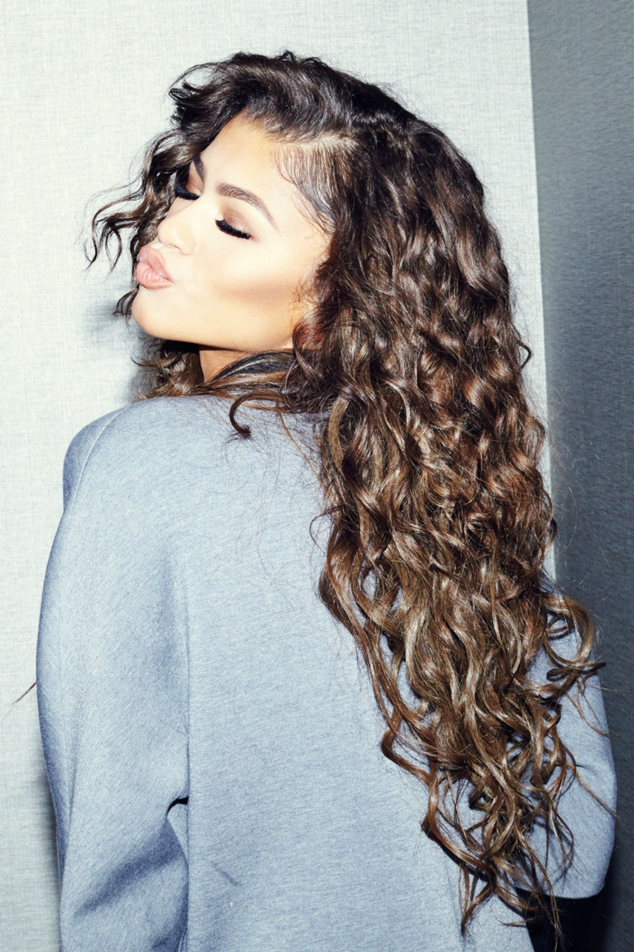Zendaya Curly Hair L 237 čenie Žena Portr 233 Ty