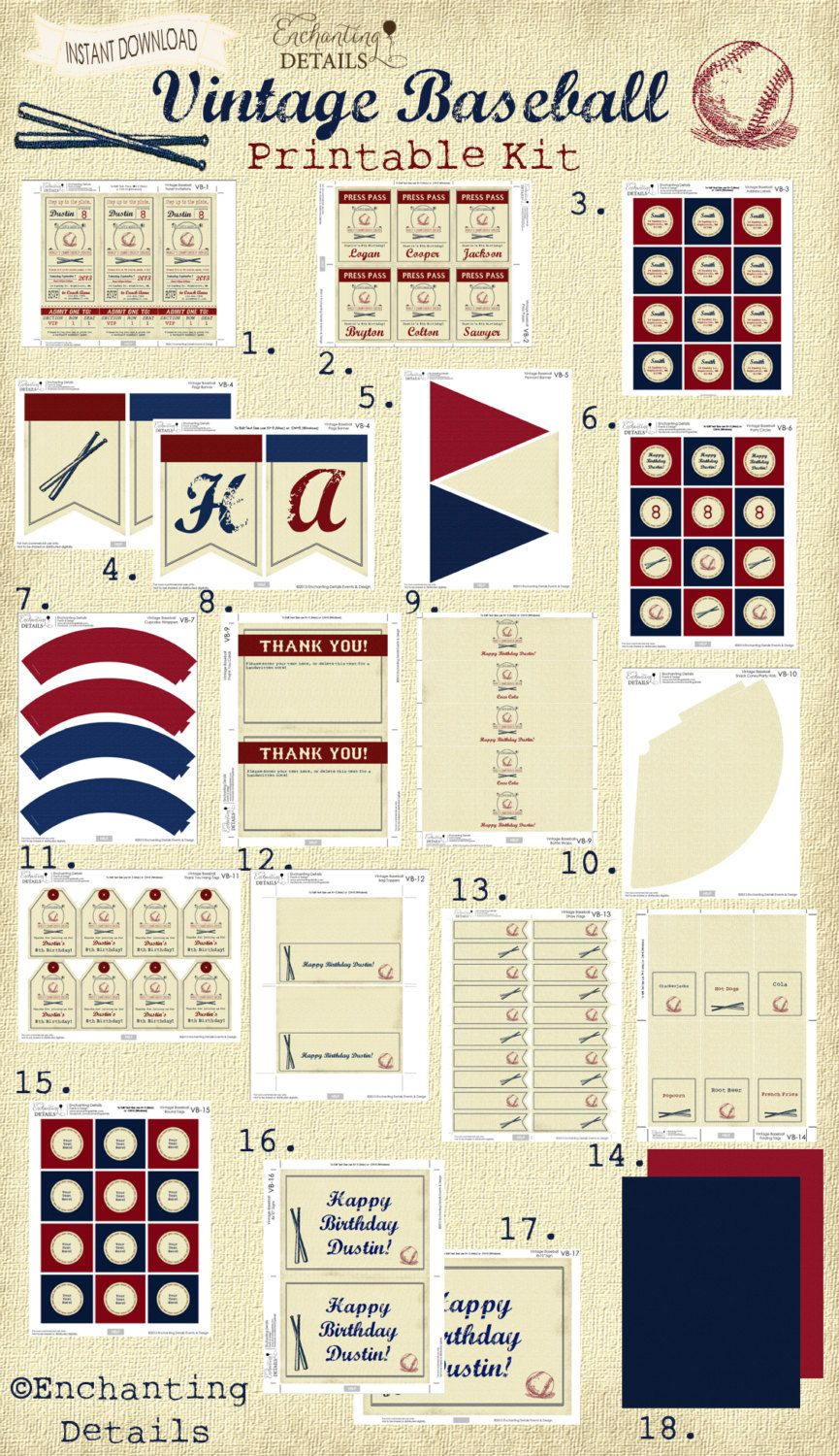 INSTANT DOWNLOAD Vintage Baseball Birthday by EnchantDetailsEvents, $19.00