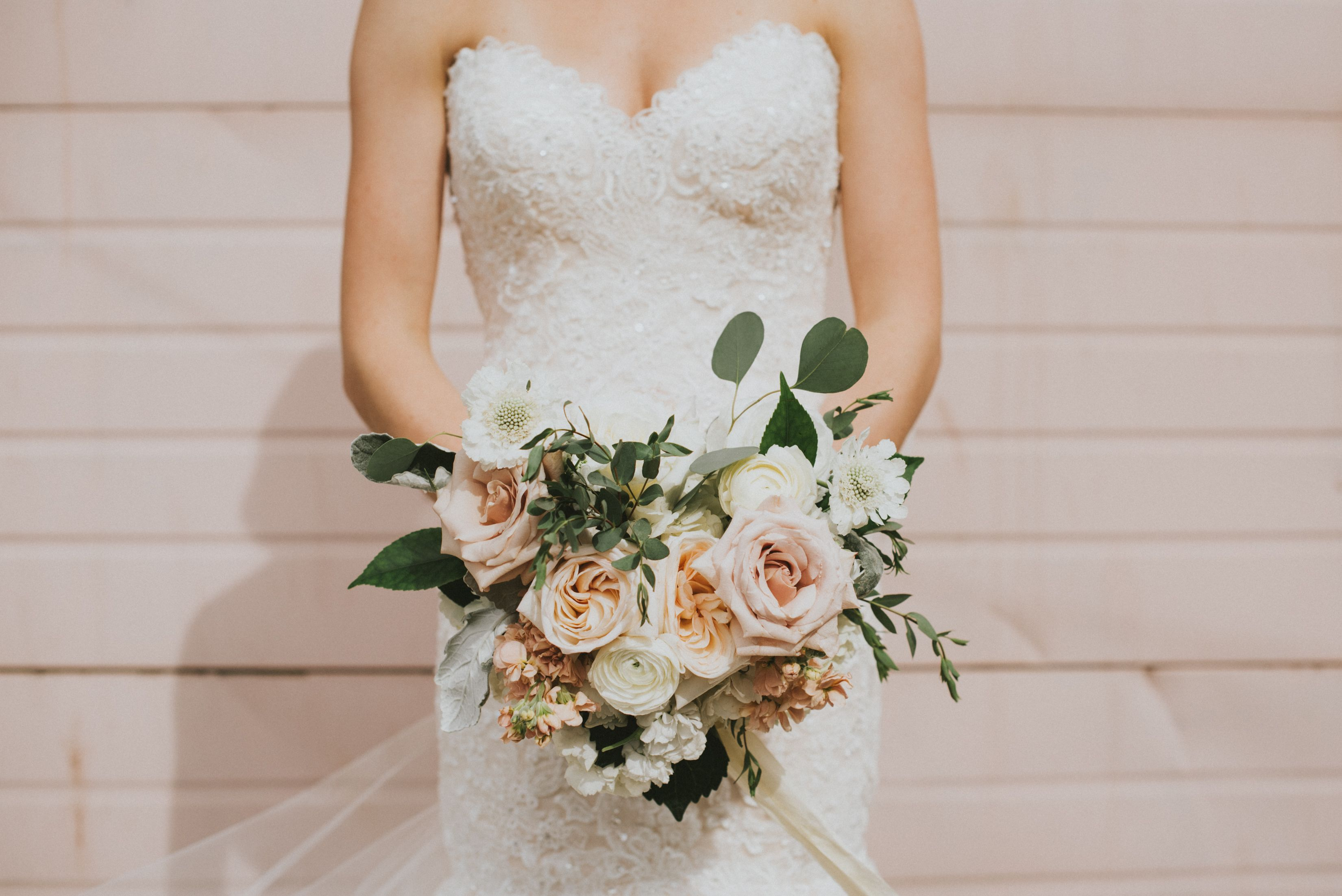 Blush Pastel Bridal Bouquet White O Hara Roses Silver Dollar