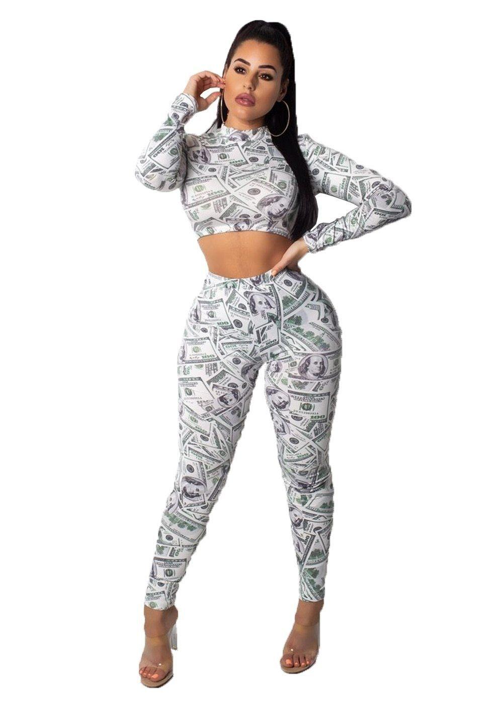 fa10e852e80a4 Autumn Fashion Short Top +Long Pant Women 2 Piece Set Dollar Prints ...