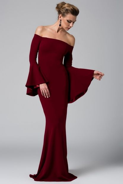 Bordo Kolu Volanli Elbise Elbise Elbiseler Giyim
