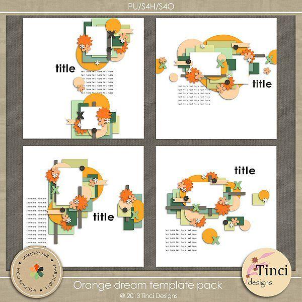 Orange dream template pack :: Templates :: Memory Scraps