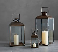 Lantern Idea Next To Fireplace Lanterns Decorative String Lights Pottery Barn