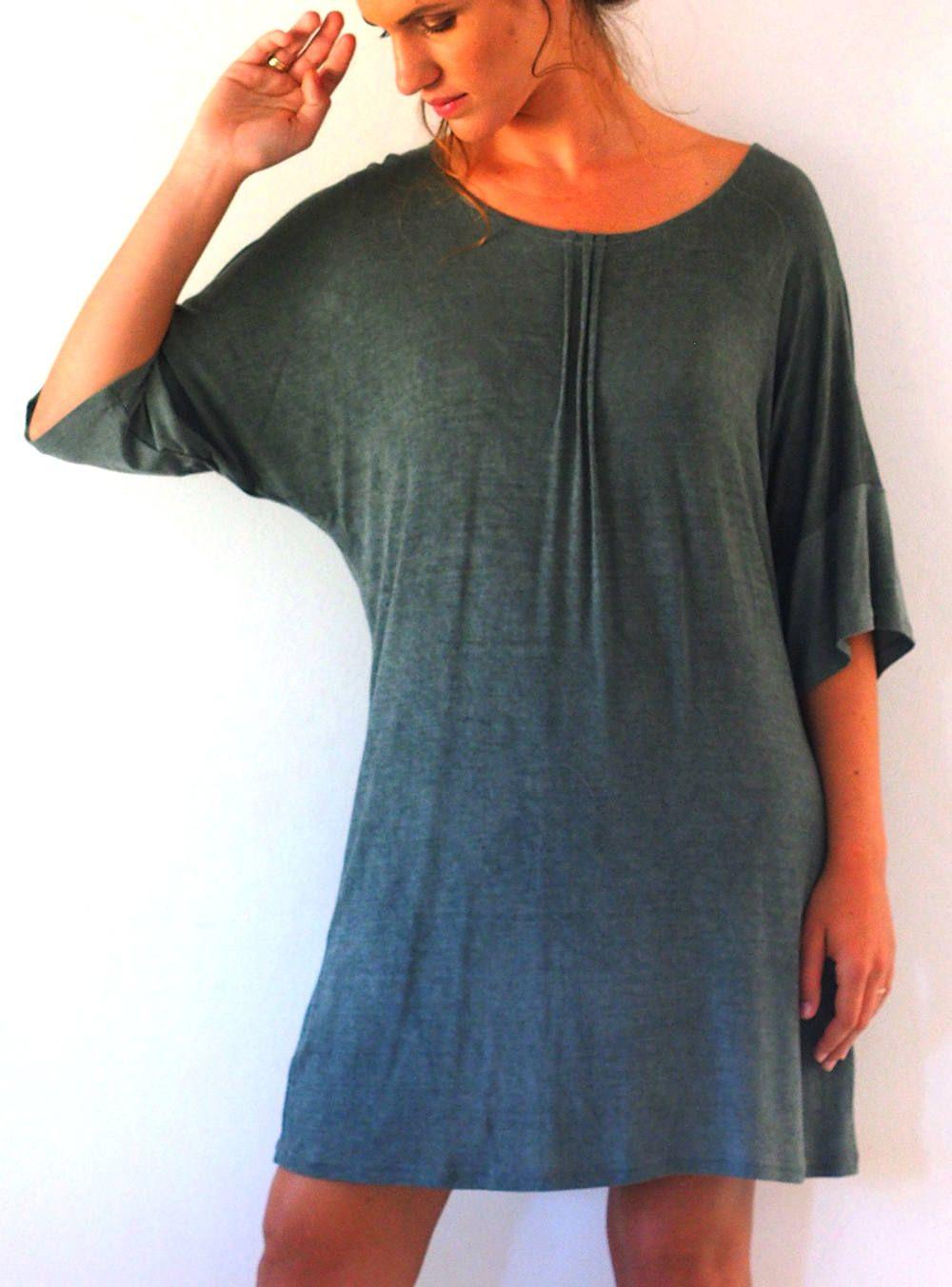 Minimalist Beach Dress Shift Olive Green Dress Tunic Dress