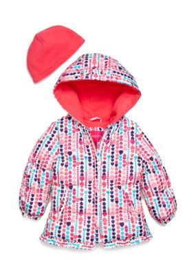 a301c1c28 London Fog 2-Piece Heart Print Puffer Jacket and Hat Set Toddler ...