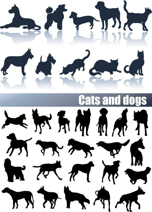 Cats and Dogs Silhouettes Vector Clip art | Template | Pinterest ...