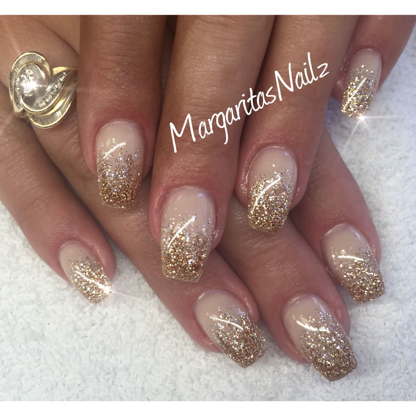 gold glitter ombre nails nailed it pinterest nails