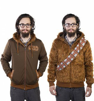 Star Wars Furry Chewbacca Reversible Hoodie FANDOM Star Wars - Hoodie will turn you into chewbacca from star wars