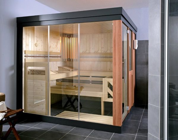 Sauna Design Ideas simple home sauna kits with corner bench also wooden wall and railing backrest Indoor Sauna Designs Ideas And Pictures