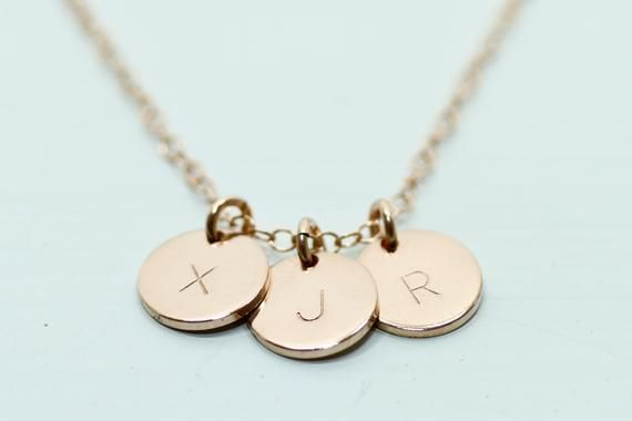 Photo of Rose gold initial necklace – dainty rose gold necklace – 3 disc necklace – minimalist jewelry – initial jewelry – delicate mom jewelry three