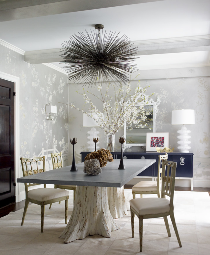 In Ashley Stark Kenners Dining Room Designed By James Aman And John Meeks Cowhide Sputnik ChandelierChandelier