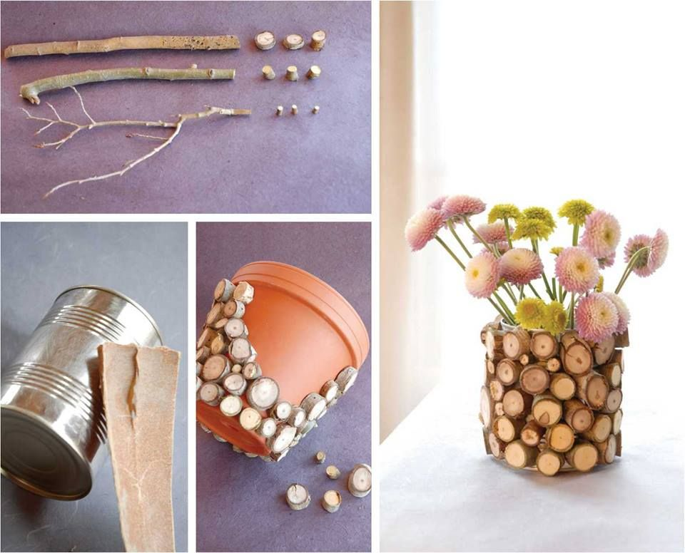 Florero de tronquitos #manualidades #Creatividad ACCESSORIES FOR - ideas creativas y manualidades