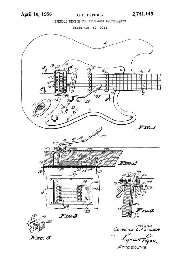 Fender Guitar Tremolo Patent Patent Print Wall Decor Music Etsy Guitar Guitar Building Fender Stratocaster