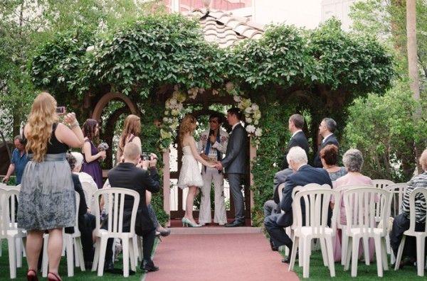 Little Vegas Wedding A Garden Elopement With Elvis Flamingo Las