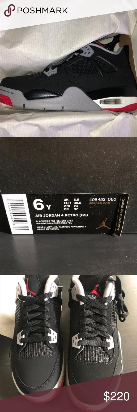 Jordan bred 4's size 6y Brand new in the box Jordan bred 4's size ...