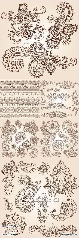 Декоративные винтажные орнаменты и узоры пейсли в векторе ...