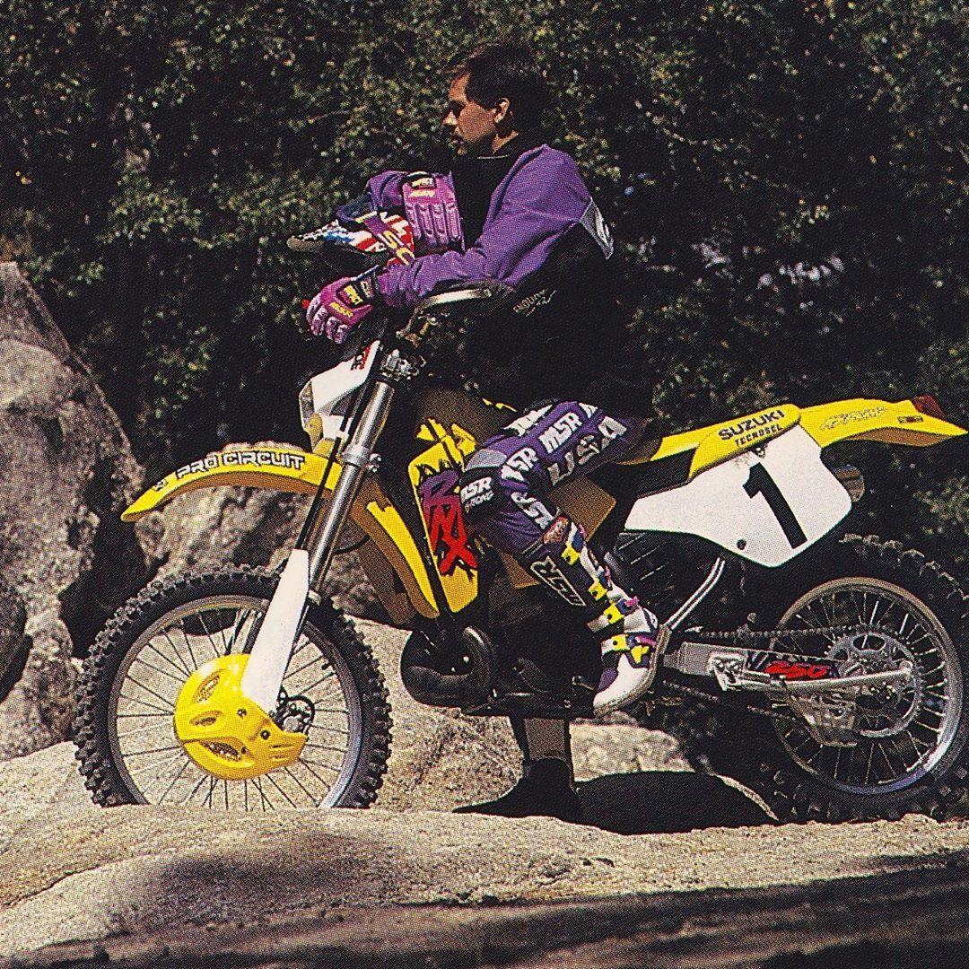 Off Road Legend Randy Hawkins Taking A Trailside Break On His Suzuki Rmx250 In 1995 Msr Thejavalin Zook Lovethermx Dirt Bike Racing Suzuki Supercross