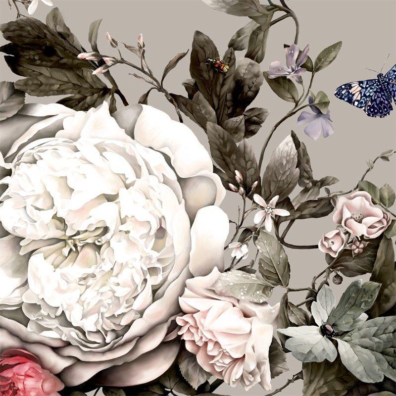 Summer Squall Wallpaper Floral wallpaper, Beige