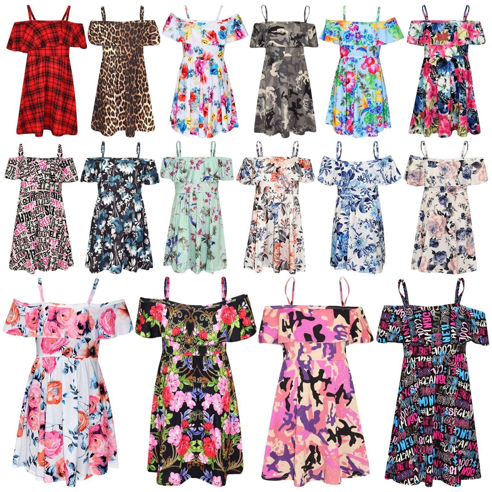 Kids Girls Skater Dress Floral Print Summer Party Off Shoulder Dresses 7 13 Year Ebay Girls Playsuit Skater Girl Dress Off Shoulder Dresses [ 1600 x 1600 Pixel ]