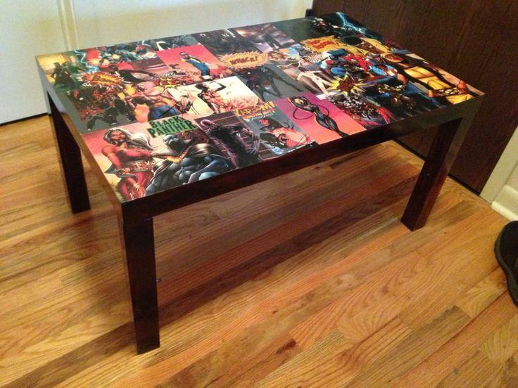 Diy Comic Book Decoupage Decoupage Furniture Coffee Table
