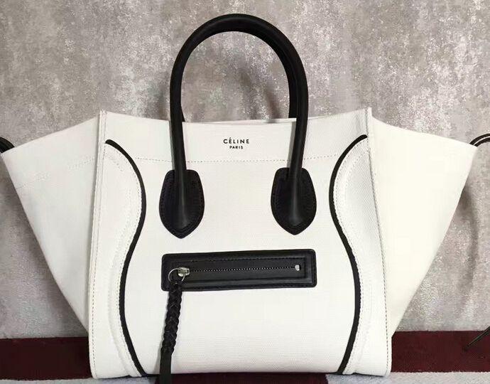 2017 Celine Medium Luggage Phantom Bag In Textile With Calfskin Border White Black