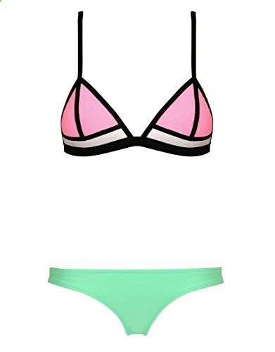 ba8ee9096aeaab Skyjoy Women Push up Bright Diving Suit Neoprene Bikini Set Swimsuit  Swimwear Small US pink green. Check website for more description.