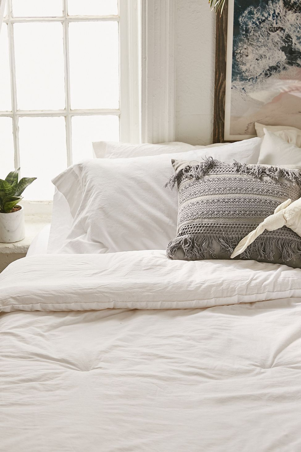 Urban Outfitters Washed Cotton Comforter Snooze Set White King Cotton Comforters Luxury Bedding Cute Room Ideas