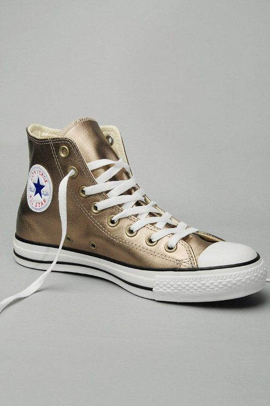 Converse All Star Metallic Leather Hi Top Sneakers in 2019  802728559c