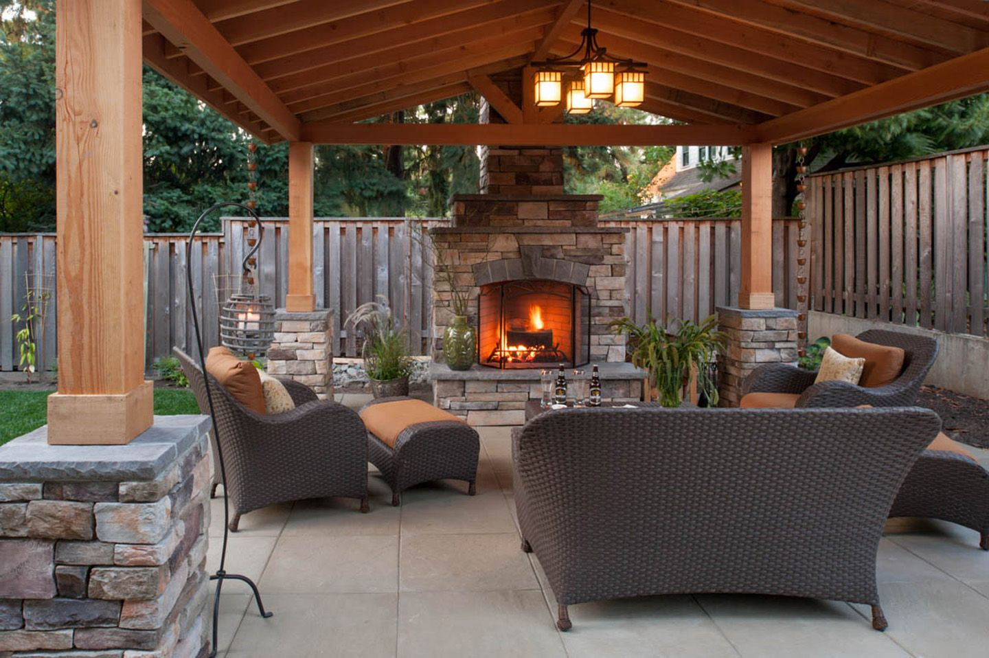 Simple Outdoor Fireplace Design in 2020 | Outdoor ... on Simple Backyard Patio Designs id=51936