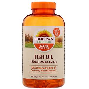 Sundown Naturals زيت السمك 1 200 مجم 300 كبسولة هلامية Iherb Fish Oil Natural Fish Oil Nutrition