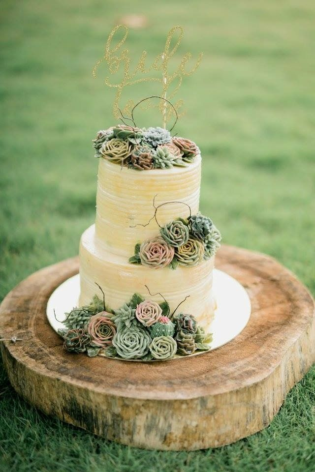 Rustic Bridal Shower Cake Succulents Buttercream Buttercake