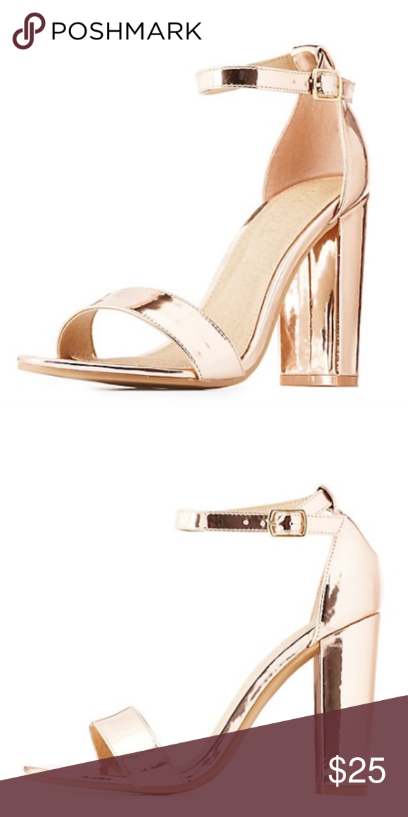 1ad3a9c8c160 Rose Gold Metallic Ankle Strap Heeled Sandals A simple toe strap and ankle  buckle make these