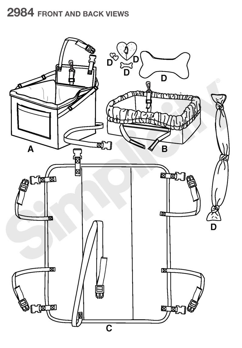 Travel Accessories for Dogs Sewing Pattern 2984 Simplicity