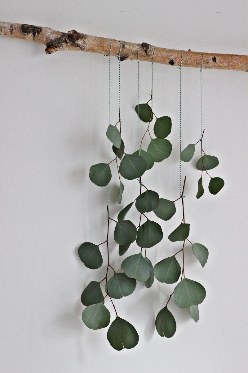 LIVING + DIY | Dekorationsidee zum Selbermachen: Eukalyptus-Vorhang fürs Wohnzimmer