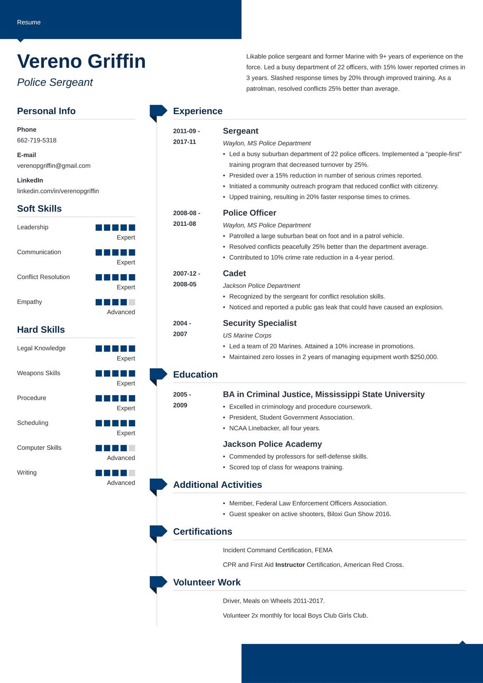 police officer resume template modern in 2020 Resume