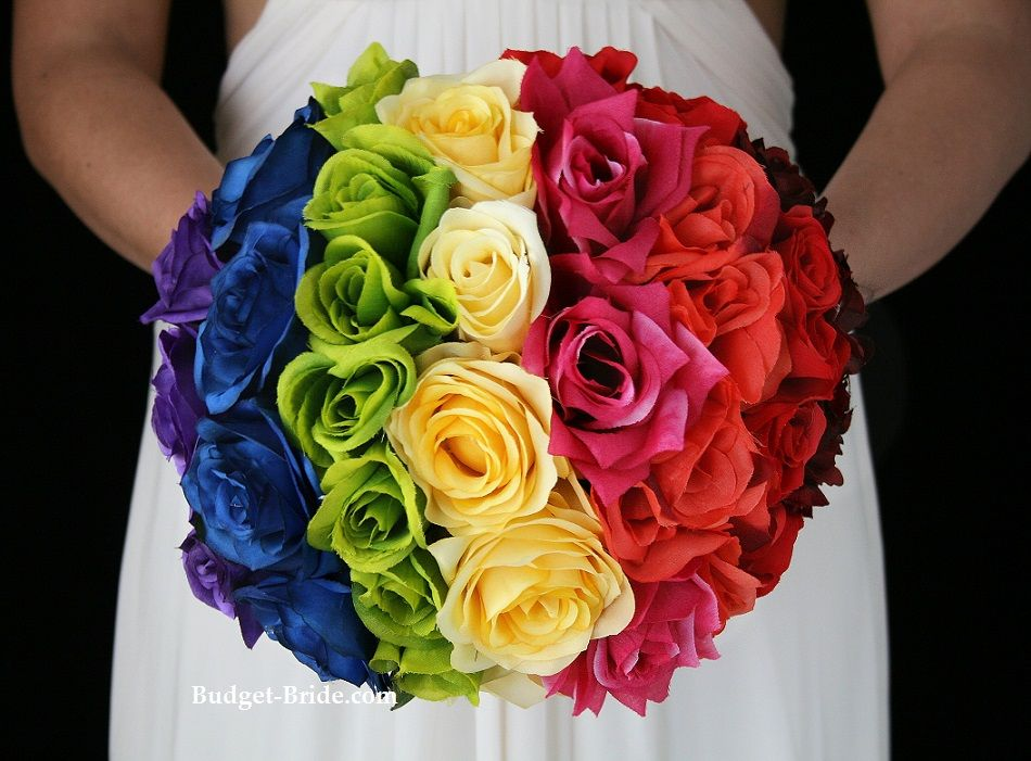A Colorful Wedding | Rainbow bouquet, Rainbows and Rainbow wedding