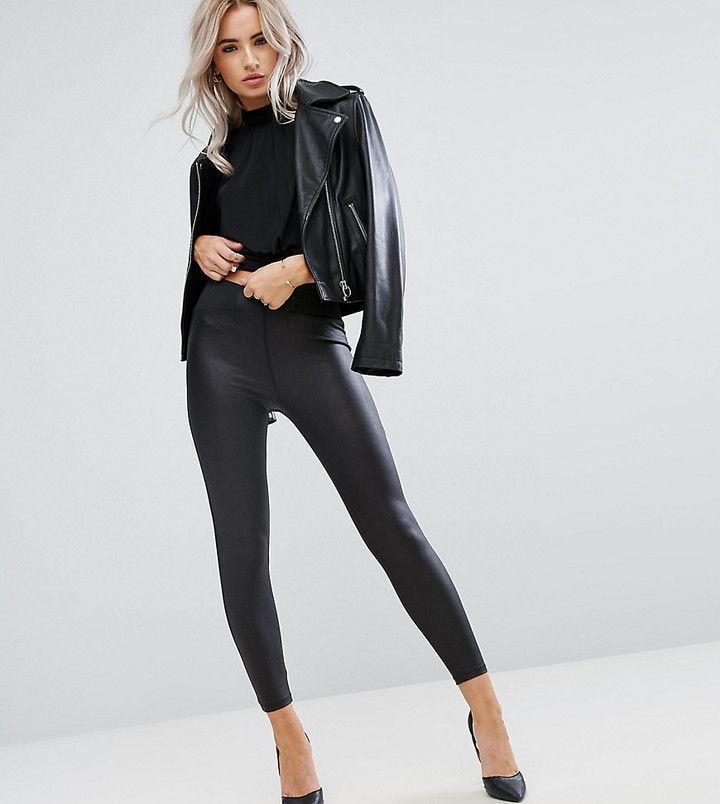 50f2c093aaadd DESIGN Petite leather look leggings with elastic slim waist in 2019 ...