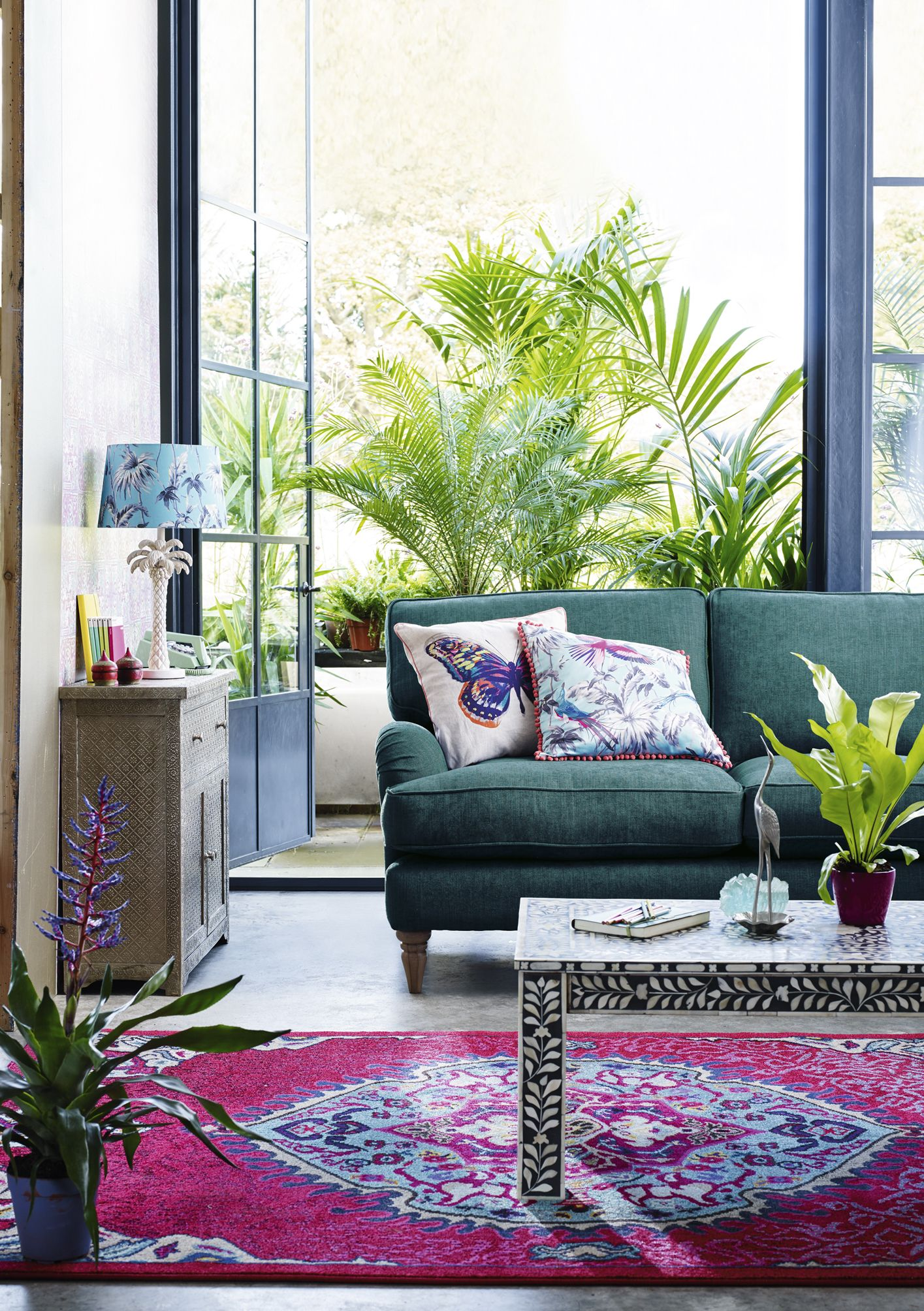 Go Modern Rio With Statement Gl Vases Palm Tree Lighting And Delicate Hand Embellished Cushions From Erfly Home By Matthew Williamson Matchmade